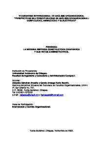 PONENCIA: LA MEDIANA EMPRESA CONSTRUCTORA CHIAPANECA Y SUS RETOS ADMINISTRATIVOS