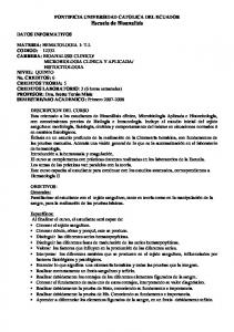 PONTIFICIA UNIVERSIDAD CATOLICA DEL ECUADOR Escuela de Bioanalisis