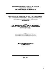 PONTIFICIA UNIVERSIDAD CATOLICA DEL ECUADOR FACULTAD DE MEDICINA POSTGRADO DE GINECO OBSTETRICIA