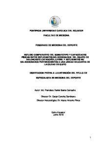 PONTIFICIA UNIVERSIDAD CATOLICA DEL ECUADOR FACULTAD DE MEDICINA POSGRADO DE MEDICINA DEL DEPORTE