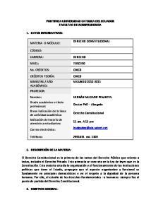 PONTIFICIA UNIVERSIDAD CATOLICA DEL ECUADOR FACULTAD DE JURISPRUDENCIA