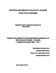 PONTIFICIA UNIVERSIDAD CATOLICA DEL ECUADOR FACULTAD DE ECONOMIA