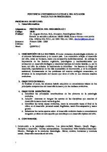 PONTIFICIA UNIVERSIDAD CATOLICA DEL ECUADOR FACULTAD DE PSICOLOGIA