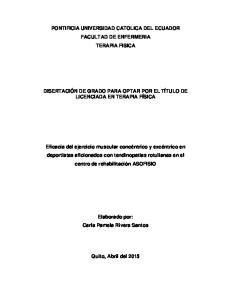 PONTIFICIA UNIVERSIDAD CATOLICA DEL ECUADOR FACULTAD DE ENFERMERIA TERAPIA FISICA
