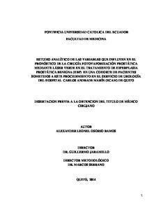 PONTIFICIA UNIVERSIDAD CATOLICA DEL ECUADOR FACULTAD DE MEDICINA