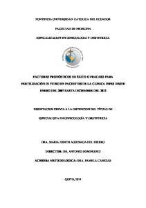 PONTIFICIA UNIVERSIDAD CATOLICA DEL ECUADOR FACULTAD DE MEDICINA ESPECALIZACION EN GINECOLOGIA Y OBSTETRICIA