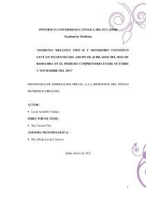PONTIFICIA UNIVERSIDAD CATOLICA DEL ECUADOR. Facultad de Medicina LEVE EN PACIENTES DEL GRUPO DE JUBILADOS DEL IESS DE