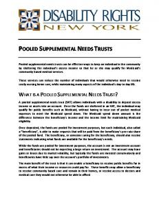 POOLED SUPPLEMENTAL NEEDS TRUSTS