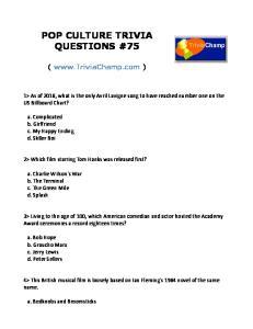 POP CULTURE TRIVIA QUESTIONS #75