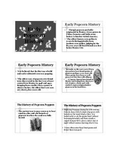 Popcorn History. Early Popcorn History. Early Popcorn History. Early Popcorn History. The History of Popcorn Poppers