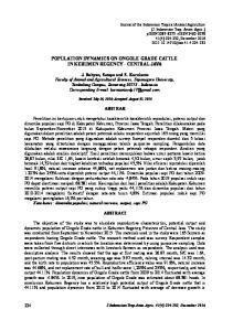 POPULATION DYNAMICS ON ONGOLE GRADE CATTLE IN KEBUMEN REGENCY - CENTRAL JAVA