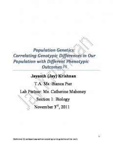 Population Genetics: Correlating Genotypic Differences in Our Population with Different Phenotypic Outcomes [1]