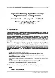 Population Learning Algorithm - Example Implementations and Experiments