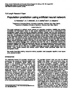 Population prediction using artificial neural network