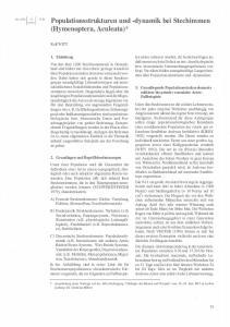 Populationsstrukturen und -dynamik bei Stechimmen (Hymenoptera, Aculeata) *
