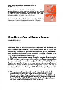 Populism in Central Eastern Europe