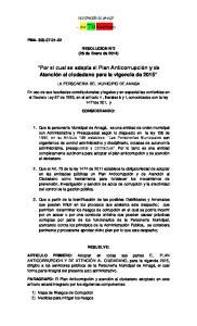 Por el cual se adopta el Plan Anticorrupción y de Atención al ciudadano para la vigencia de 2015