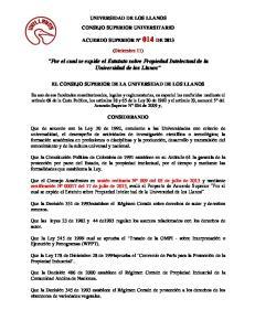 Por el cual se expide el Estatuto sobre Propiedad Intelectual de la Universidad de los Llanos
