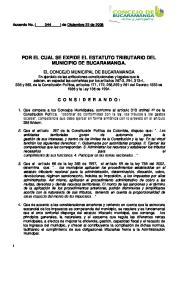 POR EL CUAL SE EXPIDE EL ESTATUTO TRIBUTARIO DEL MUNICIPIO DE BUCARAMANGA