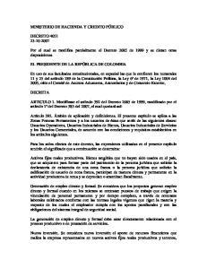 Por el cual se modifica parcialmente el Decreto 2685 de 1999 y se dictan otras disposiciones