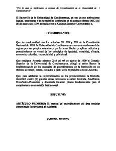 Por la cual se implementa el manual de procedimientos de la Universidad de Cundinamarca CONSIDERANDO: