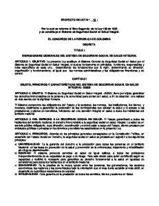 Por la cual se reforma el libro Segundo de la Ley 100 de 1993 y se constituye el Sistema de Seguridad Social en Salud Integral