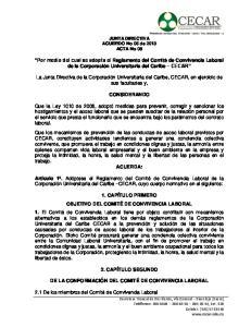 Por medio del cual se adopta el Reglamento del Comité de Convivencia Laboral de la Corporación Universitaria del Caribe CECAR