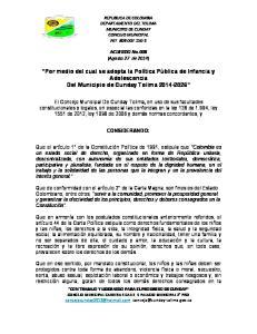 Por medio del cual se adopta la Política Pública de Infancia y Adolescencia Del Municipio de Cunday Tolima