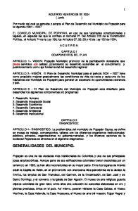 Por medio del cual se aprueba y adopta el Plan de Desarrollo del Municipio de Popayán para la vigencia