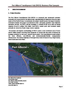 Port Alberni Transhipment Hub (PATH): Business Plan Synopsis