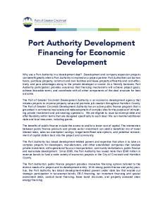 Port Authority Development Financing for Economic Development