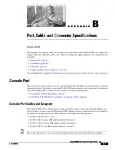 Port, Cable, and Connector Specifications