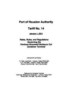 Port of Houston Authority. Tariff No. 14