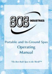Portable and In-Ground Spas. Operating Manual. The Best Built Spas in the World TM
