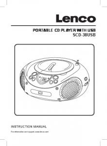PORTABLE CD PLAYER WITH USB SCD-38USB INSTRUCTION MANUAL