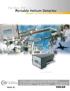 Portable Helium Detector WIDE RANGE, HIGH PERFORMANCE SYSTEM