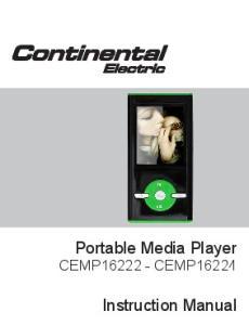 Portable Media Player CEMP CEMP Instruction Manual