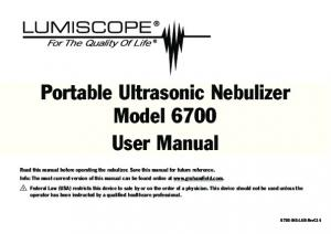 Portable Ultrasonic Nebulizer Model 6700 User Manual