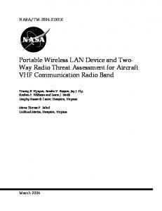 Portable Wireless LAN Device and Two- Way Radio Threat Assessment for Aircraft VHF Communication Radio Band