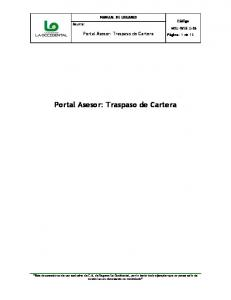 Portal Asesor: Traspaso de Cartera