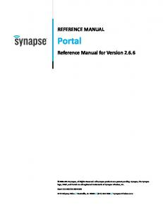 Portal REFERENCE MANUAL. Reference Manual for Version 2.6.6