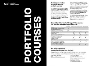 Portfolio Courses. Realise your creative ambitions with our portfolio courses