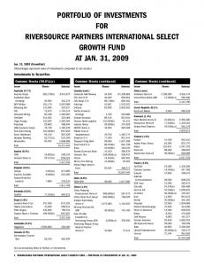 PORTFOLIO OF INVESTMENTS FOR RIVERSOURCE PARTNERS INTERNATIONAL SELECT GROWTH FUND AT JAN. 31, 2009