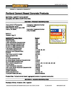 Portland Cement Based Concrete Products