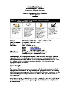 Portland State University Graduate School of Education Department of Special Education. Behavior Management in the Classroom Course Syllabus Fall 2008