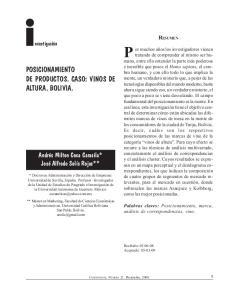 POSICIONAMIENTO DE PRODUCTOS. CASO: VINOS DE ALTURA. BOLIVIA