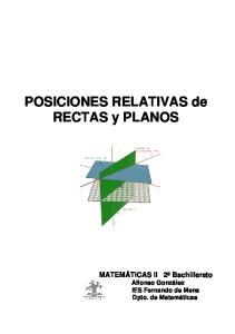 POSICIONES RELATIVAS de RECTAS y PLANOS
