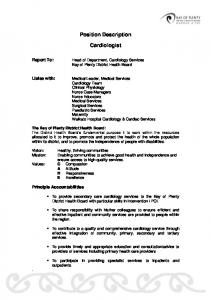 Position Description. Cardiologist