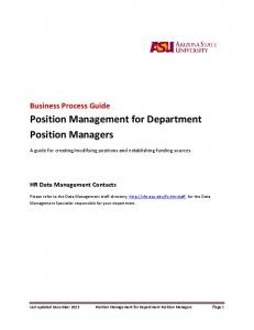 Position Management for Department Position Managers