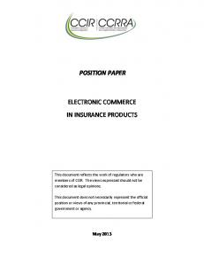 POSITION PAPER ELECTRONIC COMMERCE IN INSURANCE PRODUCTS